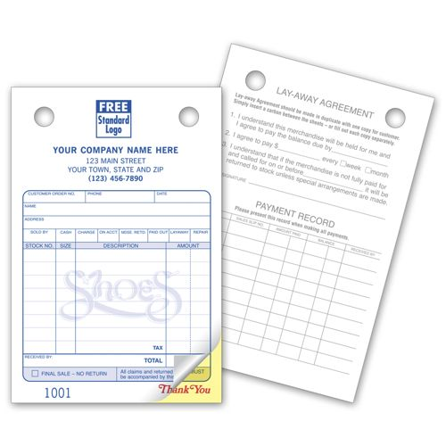 Custom Shoe Repair Register Forms