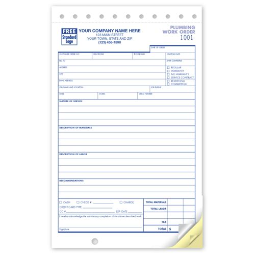 Work Order Plumbing Compact Forms