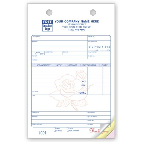 Flower Register Order Forms